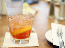 Old fashioned in glass. Old fashioned drink with whiskey at restaurant Stock Image