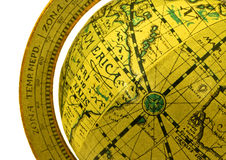 Old-fashioned globe. Partial view of old-fashioned yellow wooden globe Stock Photo