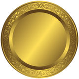 Old-fashioned golden plate. With vintage ornament vector illustration