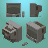 Old fashioned gray television with remote control isometric Stock Images