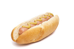 Old-fashioned hot dog with mustard Stock Photography