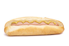 Old-fashioned hot dog with mustard Stock Photos