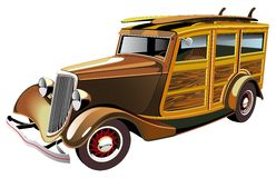 Old-fashioned hot rod. Vectorial image of old-fashioned yellow hot rod with wooden carcass and two surfboards on roof, isolated on white background. Contains Royalty Free Stock Images
