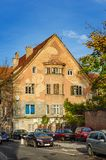 Old fashioned house at city street Royalty Free Stock Images