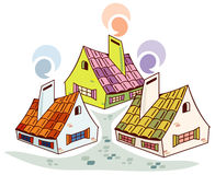 Old fashioned houses. Vector image of comfortable old fashioned houses Royalty Free Stock Photos