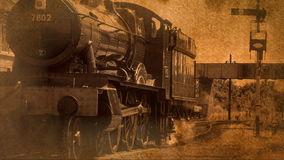Old style shot of steam engine coming to a stop 4K. Old fashioned image of steam engine moving slowly 4K stock video
