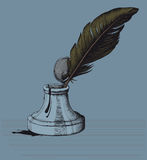 The old-fashioned ink pen and a blot. On a gray background royalty free illustration