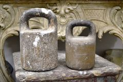 Old fashioned iron weights Royalty Free Stock Images