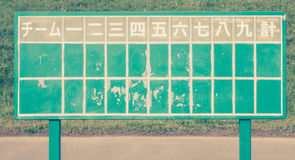Old fashioned Japanese baseball score board Royalty Free Stock Photography