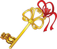 Old-fashioned key. Old-fashioned golden key with red bow Royalty Free Stock Photography