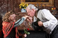 Old-fashioned kiss. Victorian gentleman kissing the hand of a lady in the old-fashioned way Stock Image