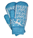 Old-fashioned knitted mittens Royalty Free Stock Image