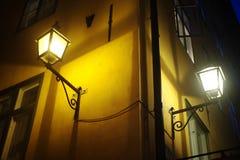 Old fashioned lantern. On old Stockholm street ( Gamla Stan Stock Photos