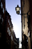 Old fashioned lantern. On old Stockholm street ( Gamla Stan royalty free stock photography