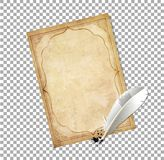 Old fashioned letter paper with feather pen and ink splatter. White feather pen with ink splatter and old papyrus with elegant curly ornamental frame isolated on Royalty Free Stock Images