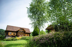 Old fashioned log wooden cottage Royalty Free Stock Photos