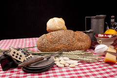 Old fashioned lunch wtih bread and buns Royalty Free Stock Photography