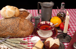 Old fashioned lunch wtih bread and buns Royalty Free Stock Images