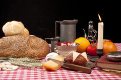 Old fashioned lunch wtih bread and buns Stock Photography