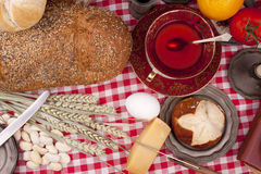 Old fashioned lunch wtih bread and buns Stock Images