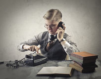 Old fashioned man making a call Royalty Free Stock Photo
