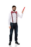 Old fashioned man pointing up with big pencil. Royalty Free Stock Photo