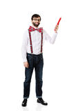 Old fashioned man pointing up with big pencil. Royalty Free Stock Photography