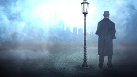 Old fashioned man standing by a streetlamp in the fog 4K