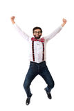 Old fashioned man wearing suspenders jumping. Stock Photos