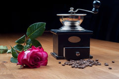 Old-fashioned manual burr-mill coffee grinder Stock Images