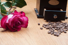 Old-fashioned manual burr-mill coffee grinder Royalty Free Stock Photos