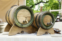 Old-fashioned, medieval wooden barrel Royalty Free Stock Image