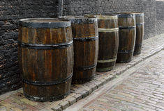 Old-fashioned, medieval wooden barrel Royalty Free Stock Photography