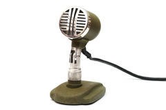 Old-fashioned microphone. Isolated on a white stock photography