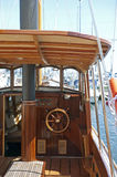 Old-fashioned motor boat. Deck of the wodden old-fashioned motor boat Royalty Free Stock Image