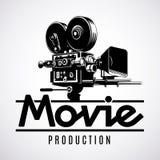 Old fashioned movie film camera, logo design template, black and white vector illustration. Video production logo design template. Old fashioned movie film vector illustration