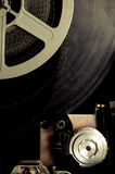 Old fashioned movie reel in 8mm projector detail Stock Image