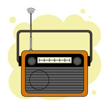 Old-fashioned orange radio receiver. Isolated on yellow abstract background stock illustration