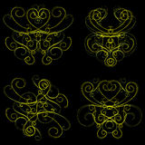 Old-fashioned ornaments. Old-fashion style abstract swirls on black Stock Image
