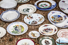 Old fashioned painted plates for rustic decoration Royalty Free Stock Photography