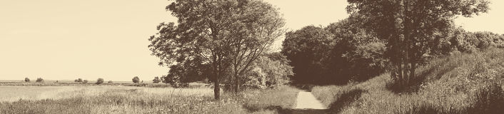 Old-fashioned panorama landscape with a trail. Old-fashioned panorama landscape with a nature trail stock photo