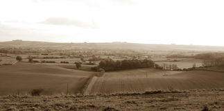 Old Fashioned Panoramic of Rural England. Old fashioned panoramic of Martinsell in Wiltshire, England Royalty Free Stock Photo