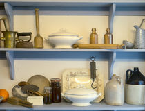Old Fashioned pantry cupboard. A vintage styled pantry storage area in a kitchen stock image
