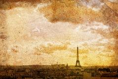 Old-fashioned paris. Old-fashioned landscape in France, digitally processed stock photo