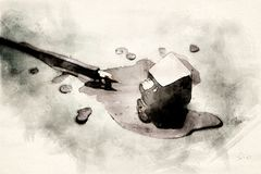 Old fashioned pen with spilled black ink. Old fashioned pen with a glass of spilled black ink in watercolors stock illustration