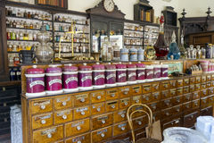 Old Fashioned Pharmacy. Old fashioned apothecary store showing the medicines and basic ingredients Royalty Free Stock Photos
