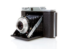 Old fashioned photo camera on white Royalty Free Stock Image