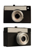 Old-fashioned photo-camera on white background. Old used camera from two angles Royalty Free Stock Photography