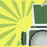 Old-fashioned photocamera. Old-fashioned photo camera on grunge background.Vector illustration Stock Images