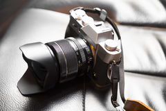 Old fashioned photography of retro film camera. Royalty Free Stock Image